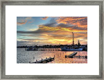 Shrimp Boats At Sunset Framed Print by Benanne Stiens