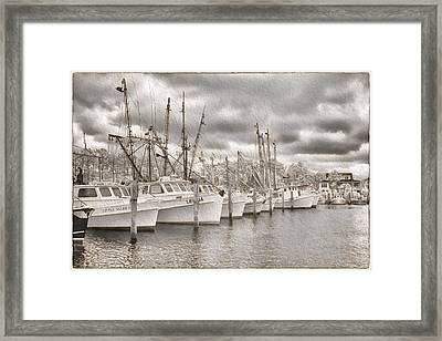 Shrimpers On Harker's Island Framed Print by Cindy Archbell