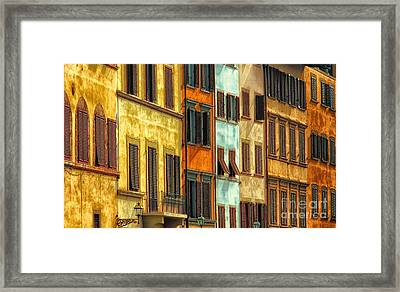Shuttered Windows Of Florence Framed Print by Mike Nellums