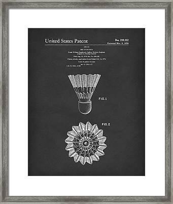 Shuttlecock 1976 Patent Art Black Framed Print by Prior Art Design