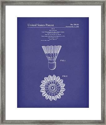 Shuttlecock 1976 Patent Art Blue Framed Print by Prior Art Design