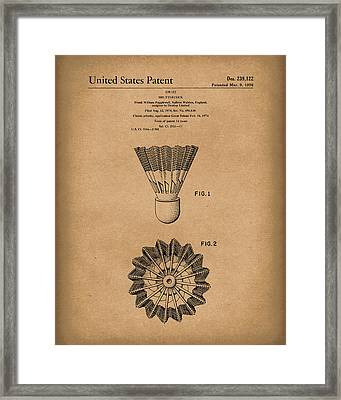 Shuttlecock 1976 Patent Art Brown Framed Print by Prior Art Design