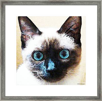 Siamese Cat Art - Black And Tan Framed Print by Sharon Cummings