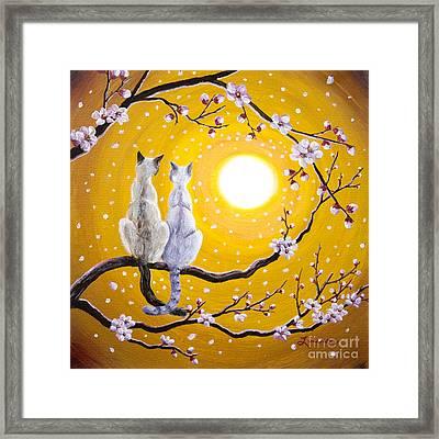Siamese Cats Nestled In Golden Sakura Framed Print by Laura Iverson
