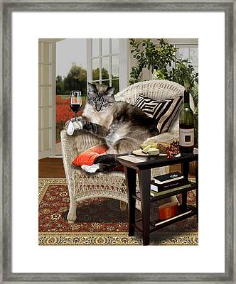 Funny Pet A Wine Bibbing Kitty  Framed Print by Regina Femrite