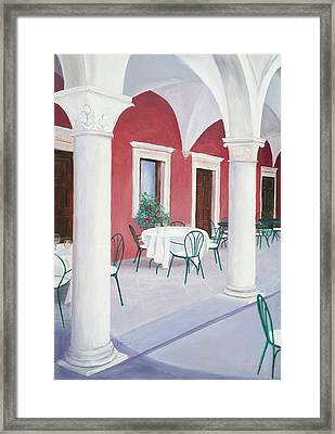 Sibenik Cafe Croatia Framed Print by Jan Matson
