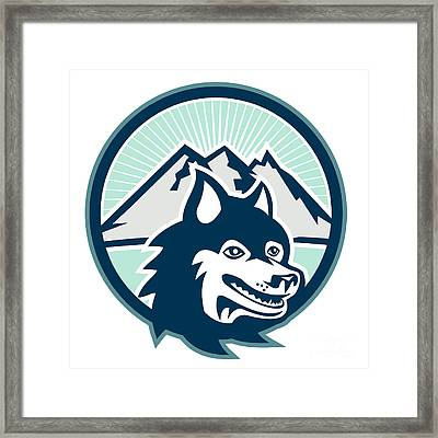 Siberian Husky Dog Head Mountain Retro Framed Print by Aloysius Patrimonio