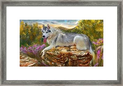 Siberian Leisure - Siberian Husky Painting Framed Print by Lourry Legarde