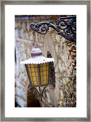 Sicilian Village Lamp Framed Print by David Smith