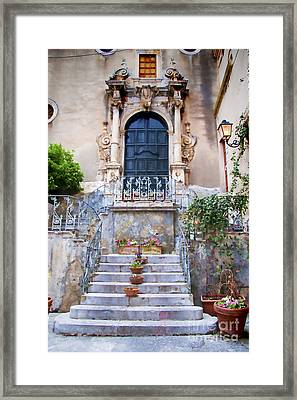 Sicilian Village Steps And Door Framed Print by David Smith