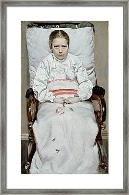 Sick Girl Framed Print by Christian Krohg