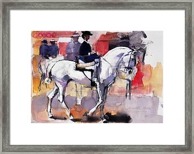 Side Saddle At The Feria De Sevilla Framed Print by Mark Adlington