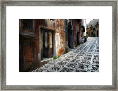 Sidestreet In Erice Framed Print by Mike Nellums