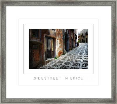 Sidestreet In Erice Poster Framed Print by Mike Nellums