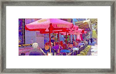 Framed Print featuring the photograph Sidewalk Cafe Digital Painting by A Gurmankin