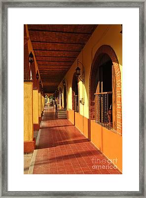 Sidewalk In Tlaquepaque District Of Guadalajara Framed Print by Elena Elisseeva