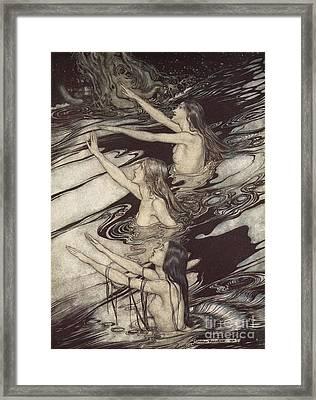 Siegfried Siegfried Our Warning Is True Flee Oh Flee From The Curse Framed Print by Arthur Rackham