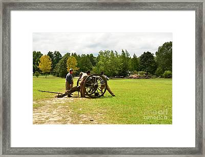Sighting In Of A Civil War Canon Framed Print by Bob Sample