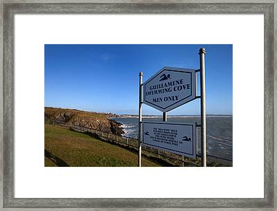 Sign At Guillamene Swimming Cove Framed Print by Panoramic Images