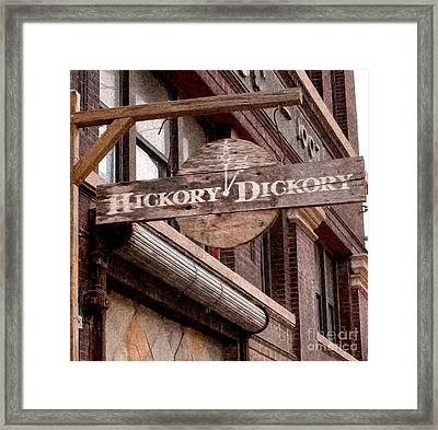 Sign - Hickory Dickory - West Bottoms Framed Print by Liane Wright