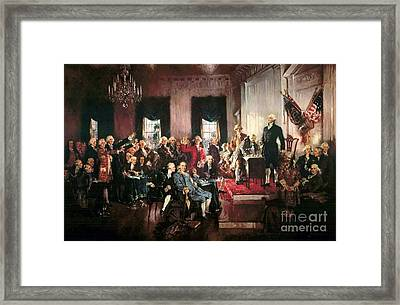 Signing Of The United States Constitution Framed Print by Pg Reproductions