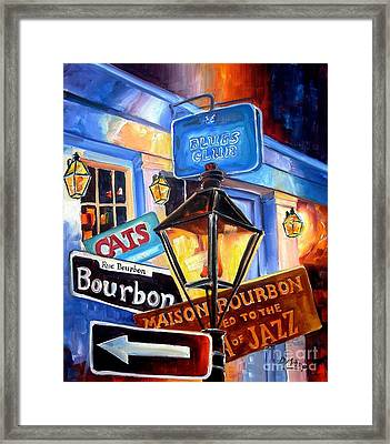Signs Of Bourbon Street Framed Print by Diane Millsap