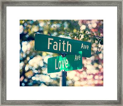 Signs Of Faith And Love Framed Print by Sonja Quintero