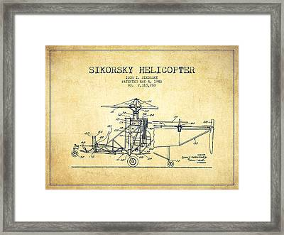 Sikorsky Helicopter Patent Drawing From 1943-vintage Framed Print by Aged Pixel