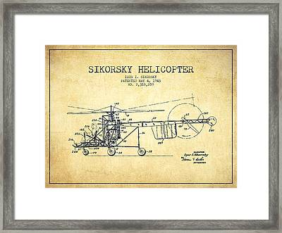 Sikorsky Helicopter Patent Drawing From 1943-vintgae Framed Print by Aged Pixel