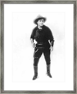 Silent Movie Cowboy Framed Print by Underwood Archives