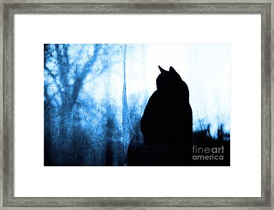 Silhouette In Blue Framed Print by Andee Design