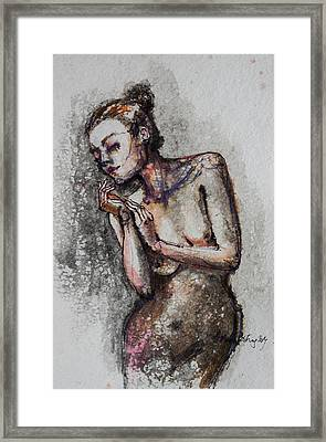 Silhouette - Nude 1 Framed Print by Dorina  Costras