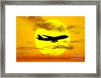 Silhouette Of A Boeing 747 Jet Framed Print by Mark Stevenson