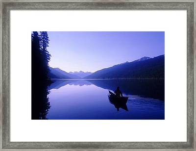 Silhouette Of A Canoeist At Sunrise Framed Print by Josh McCulloch