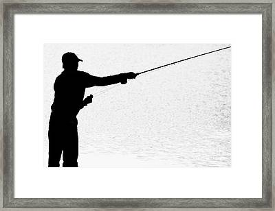 Silhouette Of A Fisherman Holding A Fishing Pole Bw Framed Print by James BO  Insogna