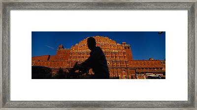 Silhouette Of A Person Riding Framed Print by Panoramic Images
