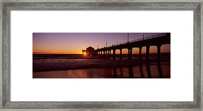 Silhouette Of A Pier, Manhattan Beach Framed Print by Panoramic Images