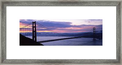 Silhouette Of A Suspension Bridge Framed Print by Panoramic Images
