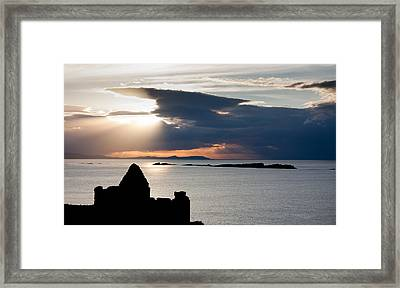 Silhouette Of Dunluce Castle Framed Print by Semmick Photo