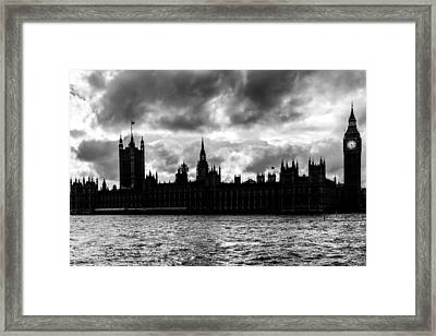 Silhouette Of  Palace Of Westminster And The Big Ben Framed Print by Semmick Photo