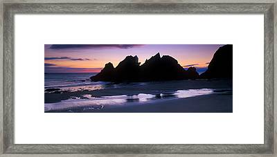 Silhouette Of Rocks On The Beach, Erme Framed Print by Panoramic Images