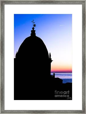 Silhouette Of Vernazza Duomo Dome Framed Print by Prints of Italy