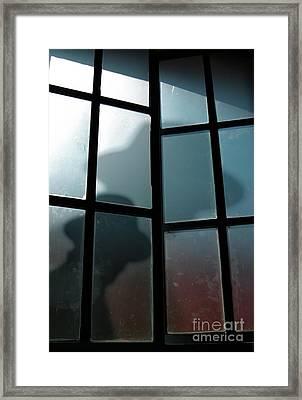 Silhouette On Window Framed Print by Carlos Caetano