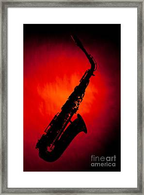 Silhouette Photograph Of An Alto Saxophone 3357.02 Framed Print by M K  Miller