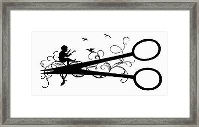 Silhouette Scissors Framed Print by Granger