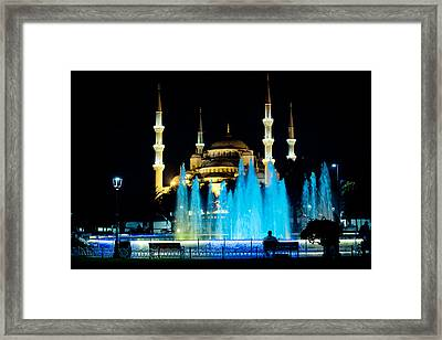 Silhouettes Of Blue Mosque Night View Framed Print by Raimond Klavins