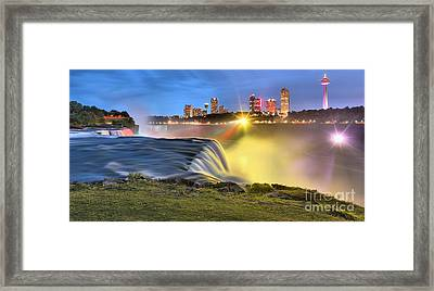 Silky Niagara Falls Panoramic Sunset Framed Print by Adam Jewell
