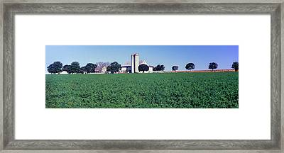 Silo In A Farm, Amish Country, Holmes Framed Print by Panoramic Images