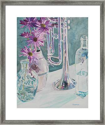 Silver And Glass Music Framed Print by Jenny Armitage