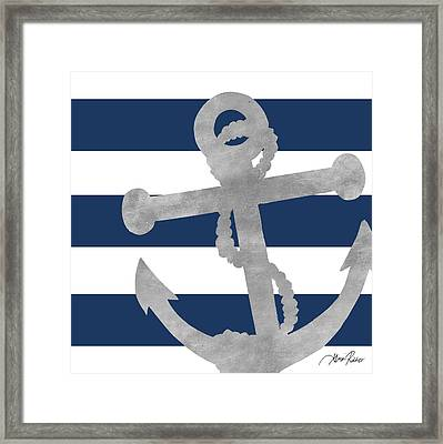 Silver Coastal On Blue Stripe I Framed Print by Gina Ritter
